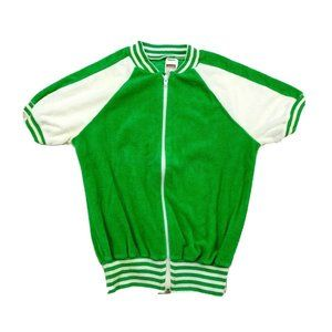 70s Womens Size Small Terrycloth Track Jacket
